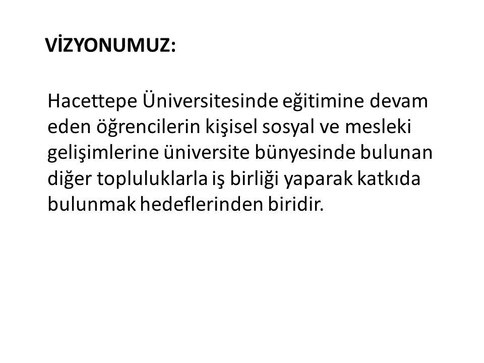 VİZYONUMUZ: Hacettepe Üniversitesinde eğitimine devam eden öğrencilerin kişisel sosyal ve mesleki gelişimlerine üniversite bünyesinde bulunan diğer to