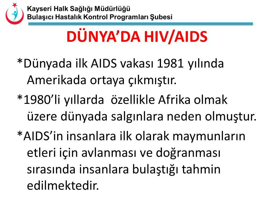 *Dünyada ilk AIDS vakası 1981 yılında Amerikada ortaya çıkmıştır. *1980'li yıllarda özellikle Afrika olmak üzere dünyada salgınlara neden olmuştur. *A