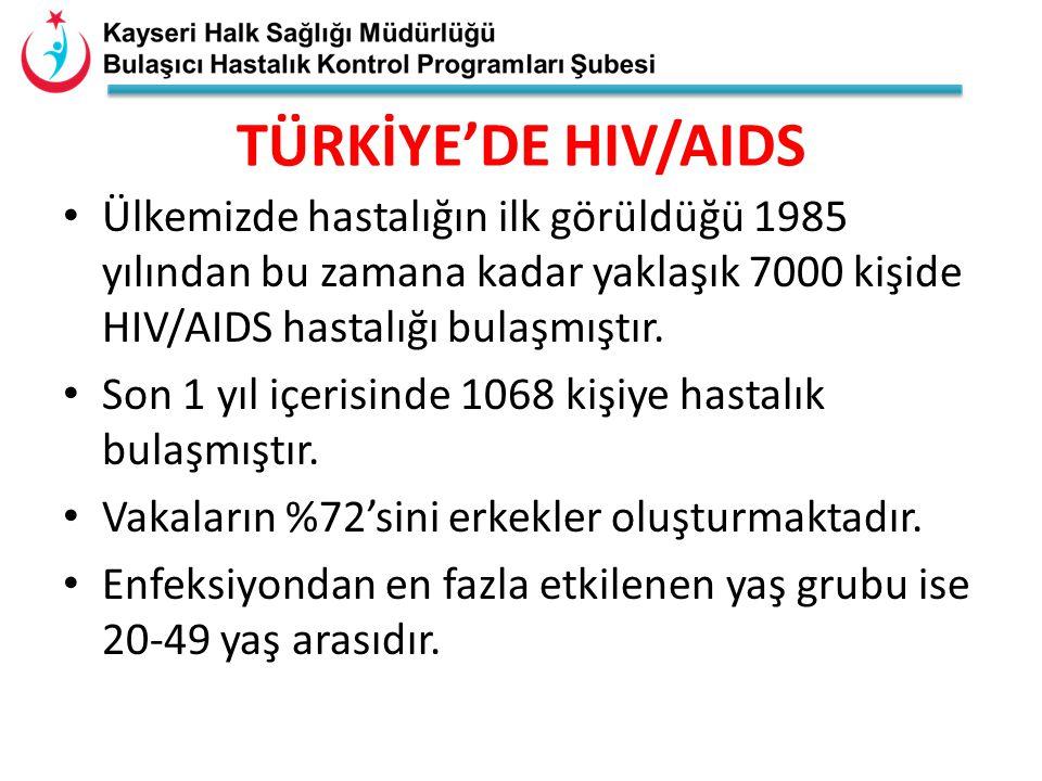 TÜRKİYE'DE HIV/AIDS Ülkemizde hastalığın ilk görüldüğü 1985 yılından bu zamana kadar yaklaşık 7000 kişide HIV/AIDS hastalığı bulaşmıştır. Son 1 yıl iç