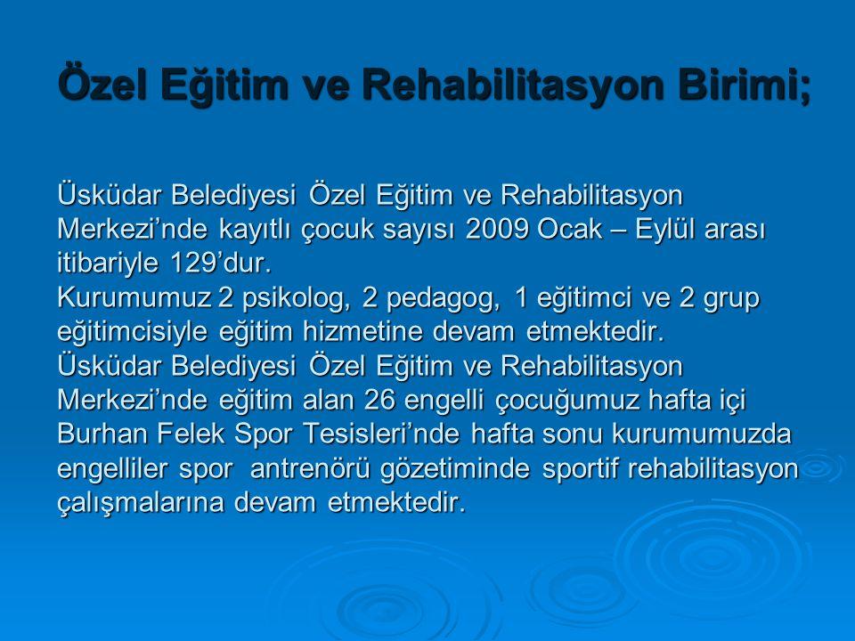 Özel Eğitim ve Rehabilitasyon Birimi; Üsküdar Belediyesi Özel Eğitim ve Rehabilitasyon Merkezi'nde kayıtlı çocuk sayısı 2009 Ocak – Eylül arası itibar