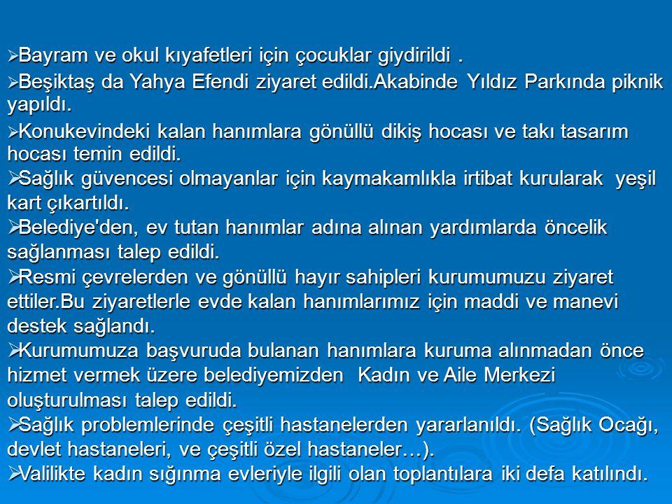  Bayram ve okul kıyafetleri için çocuklar giydirildi.  Beşiktaş da Yahya Efendi ziyaret edildi.Akabinde Yıldız Parkında piknik yapıldı.  Konukevind