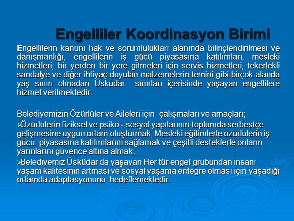 Engelliler Koordinasyon Birimi Engellilerin kanuni hak ve sorumlulukları alanında bilinçlendirilmesi ve danışmanlığı, engellilerin iş gücü piyasasına