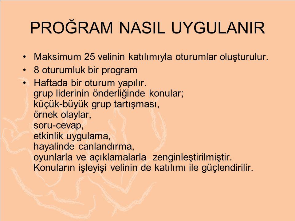PROĞRAM NASIL UYGULANIR Maksimum 25 velinin katılımıyla oturumlar oluşturulur.