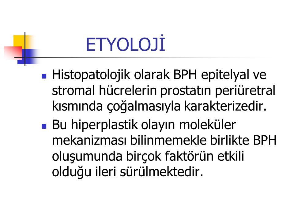 ETYOLOJİ Histopatolojik olarak BPH epitelyal ve stromal hücrelerin prostatın periüretral kısmında çoğalmasıyla karakterizedir. Bu hiperplastik olayın