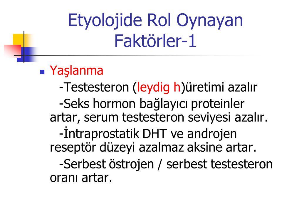 Etyolojide Rol Oynayan Faktörler-1 Yaşlanma -Testesteron (leydig h)üretimi azalır -Seks hormon bağlayıcı proteinler artar, serum testesteron seviyesi
