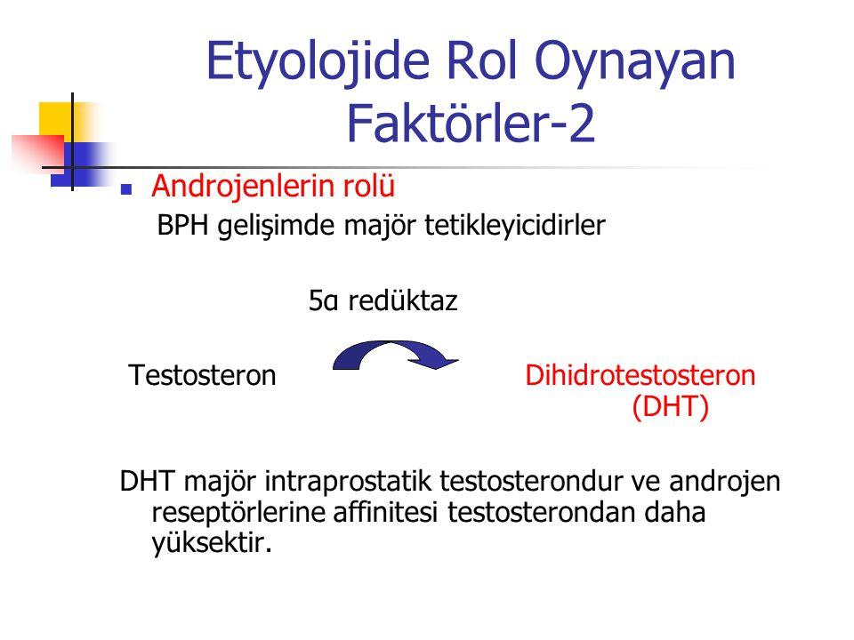 Etyolojide Rol Oynayan Faktörler-2 Androjenlerin rolü BPH gelişimde majör tetikleyicidirler 5α redüktaz Testosteron Dihidrotestosteron (DHT) DHT majör