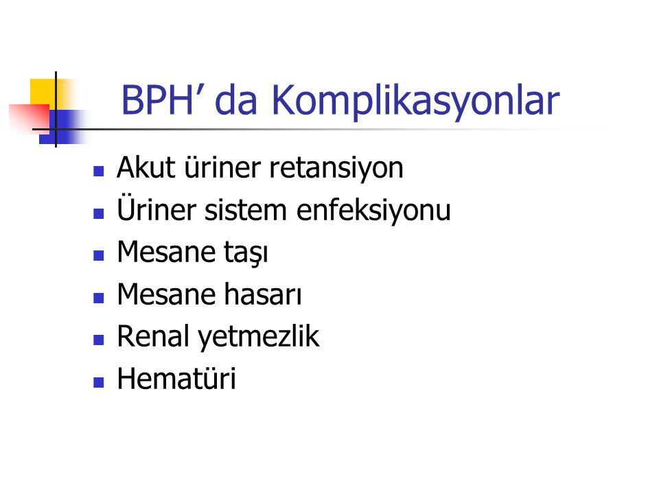 BPH' da Komplikasyonlar Akut üriner retansiyon Üriner sistem enfeksiyonu Mesane taşı Mesane hasarı Renal yetmezlik Hematüri