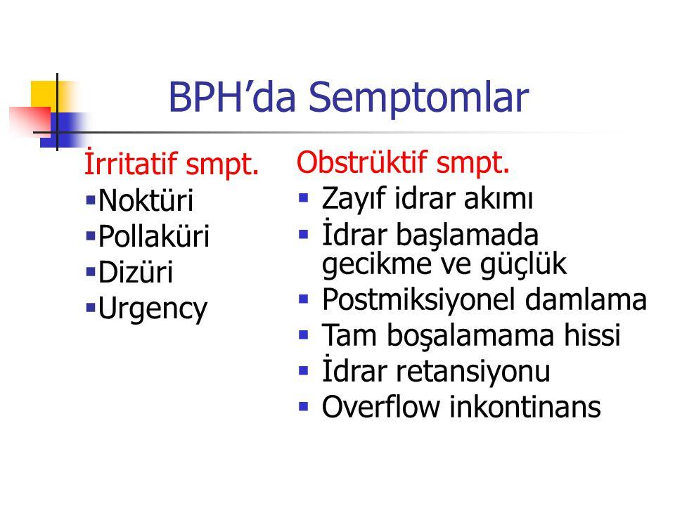 BPH'da Semptomlar İrritatif smpt.  Noktüri  Pollaküri  Dizüri  Urgency Obstrüktif smpt.  Zayıf idrar akımı  İdrar başlamada gecikme ve güçlük 
