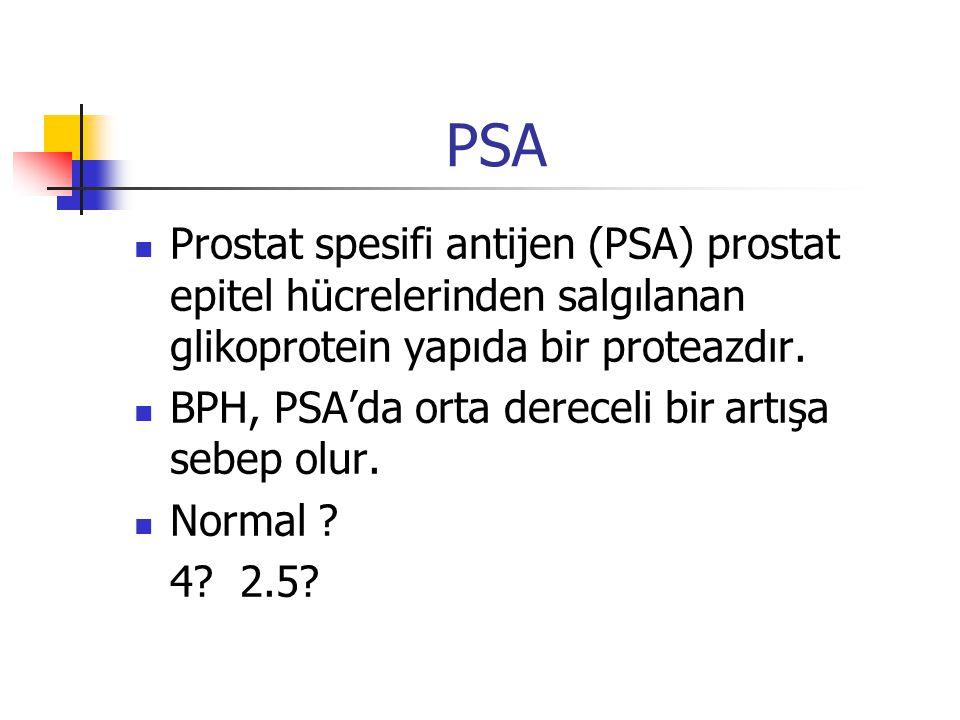 PSA Prostat spesifi antijen (PSA) prostat epitel hücrelerinden salgılanan glikoprotein yapıda bir proteazdır. BPH, PSA'da orta dereceli bir artışa seb