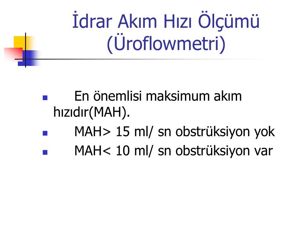 İdrar Akım Hızı Ölçümü (Üroflowmetri) En önemlisi maksimum akım hızıdır(MAH). MAH> 15 ml/ sn obstrüksiyon yok MAH< 10 ml/ sn obstrüksiyon var