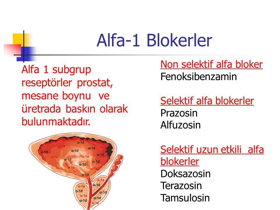 Alfa-1 Blokerler Non selektif alfa bloker Fenoksibenzamin Selektif alfa blokerler Prazosin Alfuzosin Selektif uzun etkili alfa blokerler Doksazosin Te