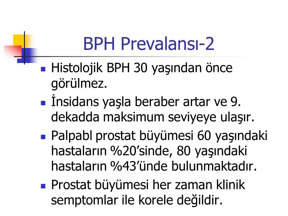 BPH Prevalansı-2 Histolojik BPH 30 yaşından önce görülmez. İnsidans yaşla beraber artar ve 9. dekadda maksimum seviyeye ulaşır. Palpabl prostat büyüme