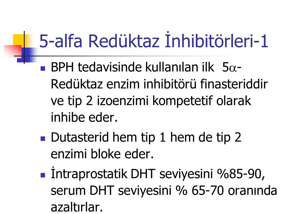 5-alfa Redüktaz İnhibitörleri-1 BPH tedavisinde kullanılan ilk 5  - Redüktaz enzim inhibitörü finasteriddir ve tip 2 izoenzimi kompetetif olarak inhi