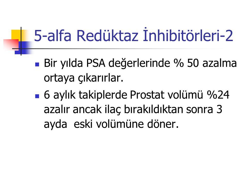 5-alfa Redüktaz İnhibitörleri-2 Bir yılda PSA değerlerinde % 50 azalma ortaya çıkarırlar. 6 aylık takiplerde Prostat volümü %24 azalır ancak ilaç bıra