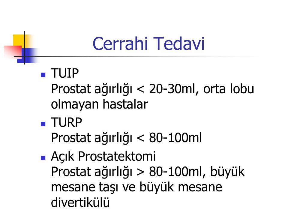 Cerrahi Tedavi TUIP Prostat ağırlığı < 20-30ml, orta lobu olmayan hastalar TURP Prostat ağırlığı < 80-100ml Açık Prostatektomi Prostat ağırlığı > 80-1