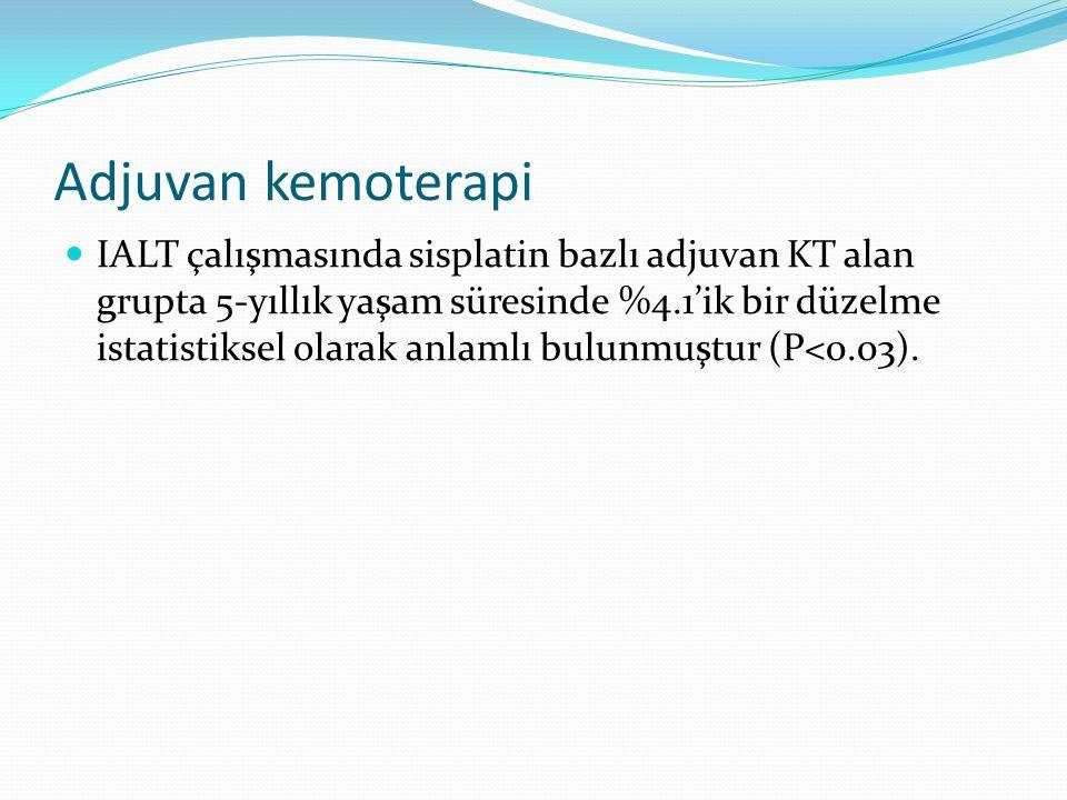 Adjuvan kemoterapi IALT çalışmasında sisplatin bazlı adjuvan KT alan grupta 5-yıllık yaşam süresinde %4.1'ik bir düzelme istatistiksel olarak anlamlı bulunmuştur (P<0.03).