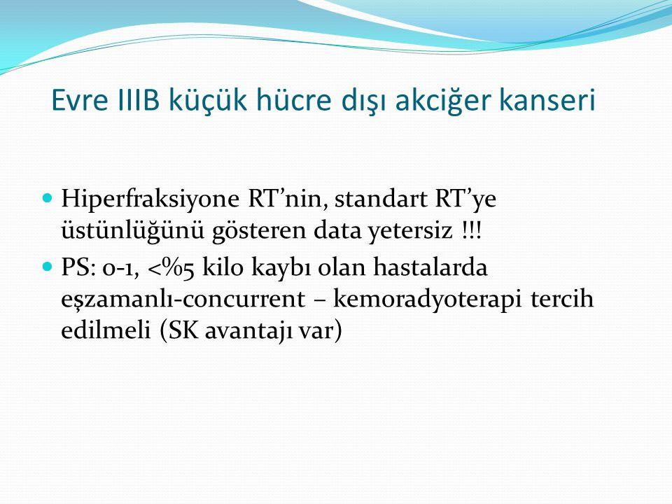 Evre IIIB küçük hücre dışı akciğer kanseri Hiperfraksiyone RT'nin, standart RT'ye üstünlüğünü gösteren data yetersiz !!.