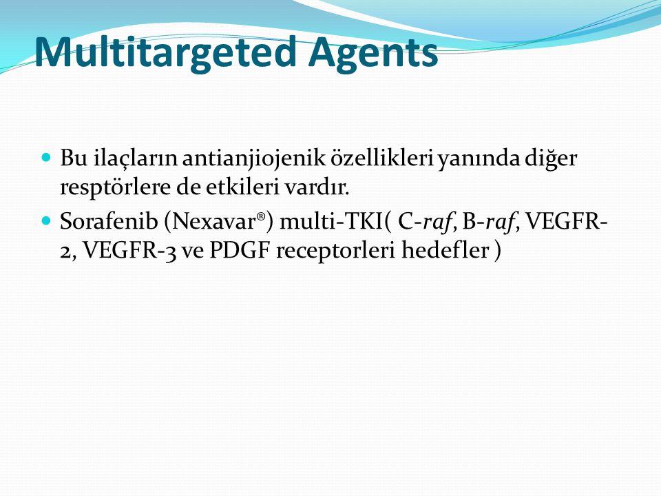 Multitargeted Agents Bu ilaçların antianjiojenik özellikleri yanında diğer resptörlere de etkileri vardır.