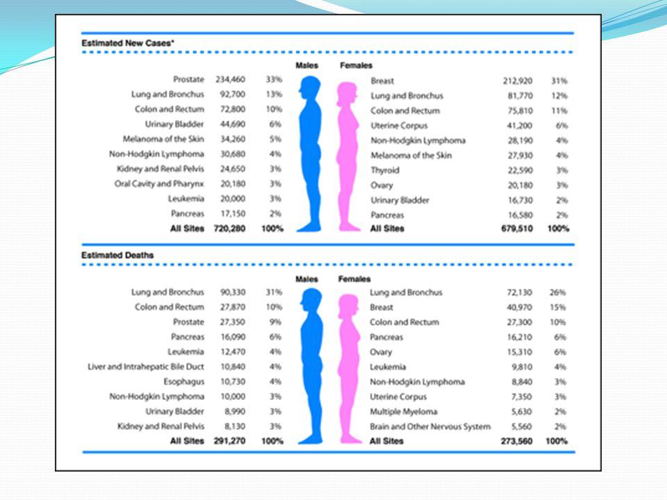 AKCİĞER KANSERLERİNİN HİSTOLOJİK TİPLERE GÖRE DAĞILIMI HÜCRE TİPİ ORAN (%) Dünya Türkiye Küçük Hücreli 19 20 Yassı Hücreli 39 45 Adenokanser 27 20 Büyük Hücreli 10 2 Diğer 8 12
