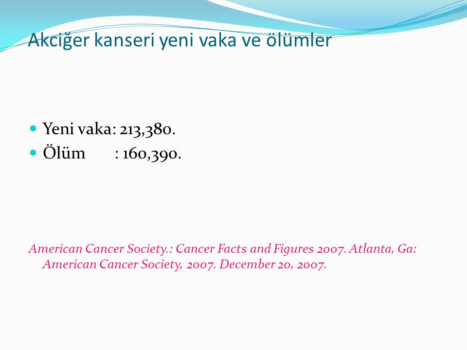 Histolojik tipler (Türkiye) N% Squamous214529.4 Adeno126317.3 (BAC) 40 0.6 Large cell1161.6 Adenosquamous240.3 NSCLC, unspecified168123.0 Small cell112915.5 Sarcomatoid carcinoma 240.3 Carcinoid350.5 Salivary gland-type50.07 Other87412.0 NSCLC 5259 %71.9