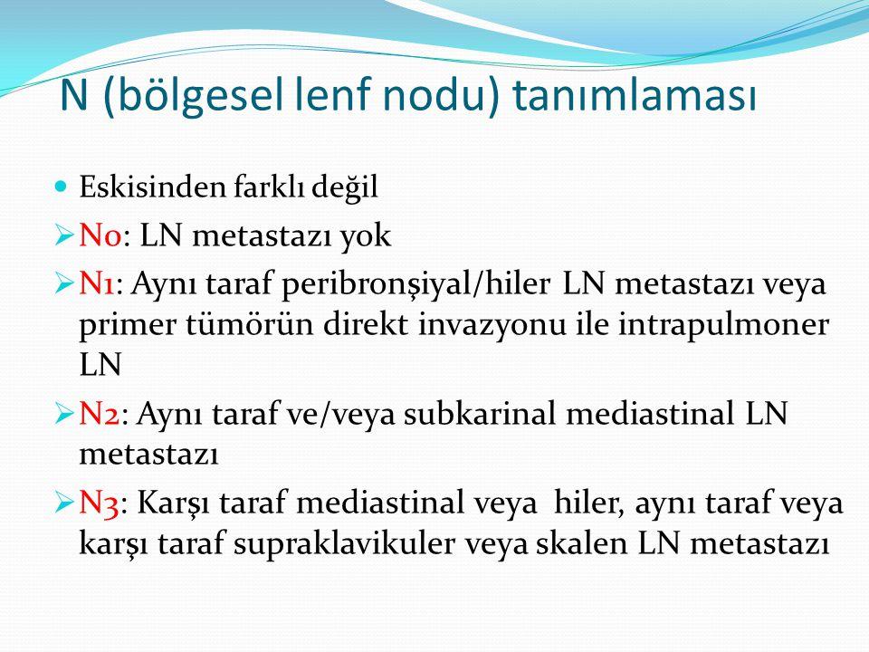 N (bölgesel lenf nodu) tanımlaması Eskisinden farklı değil  N0: LN metastazı yok  N1: Aynı taraf peribronşiyal/hiler LN metastazı veya primer tümörün direkt invazyonu ile intrapulmoner LN  N2: Aynı taraf ve/veya subkarinal mediastinal LN metastazı  N3: Karşı taraf mediastinal veya hiler, aynı taraf veya karşı taraf supraklavikuler veya skalen LN metastazı