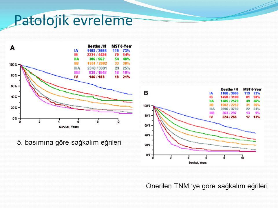 Patolojik evreleme 5. basımına göre sağkalım eğrileri Önerilen TNM 'ye göre sağkalım eğrileri