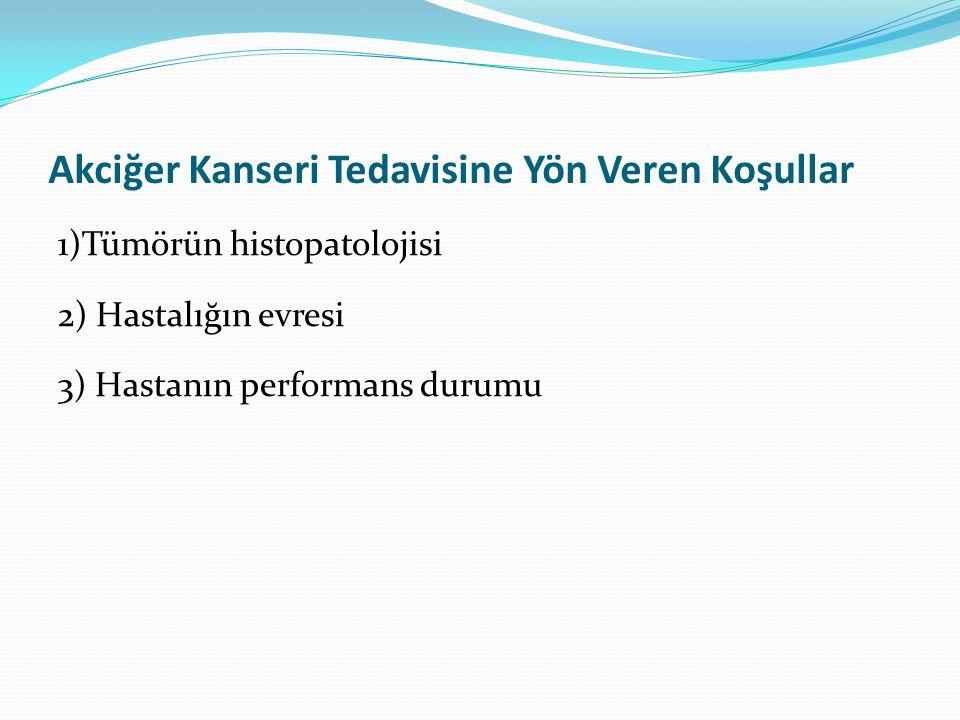 Akciğer Kanseri Tedavisine Yön Veren Koşullar 1)Tümörün histopatolojisi 2) Hastalığın evresi 3) Hastanın performans durumu
