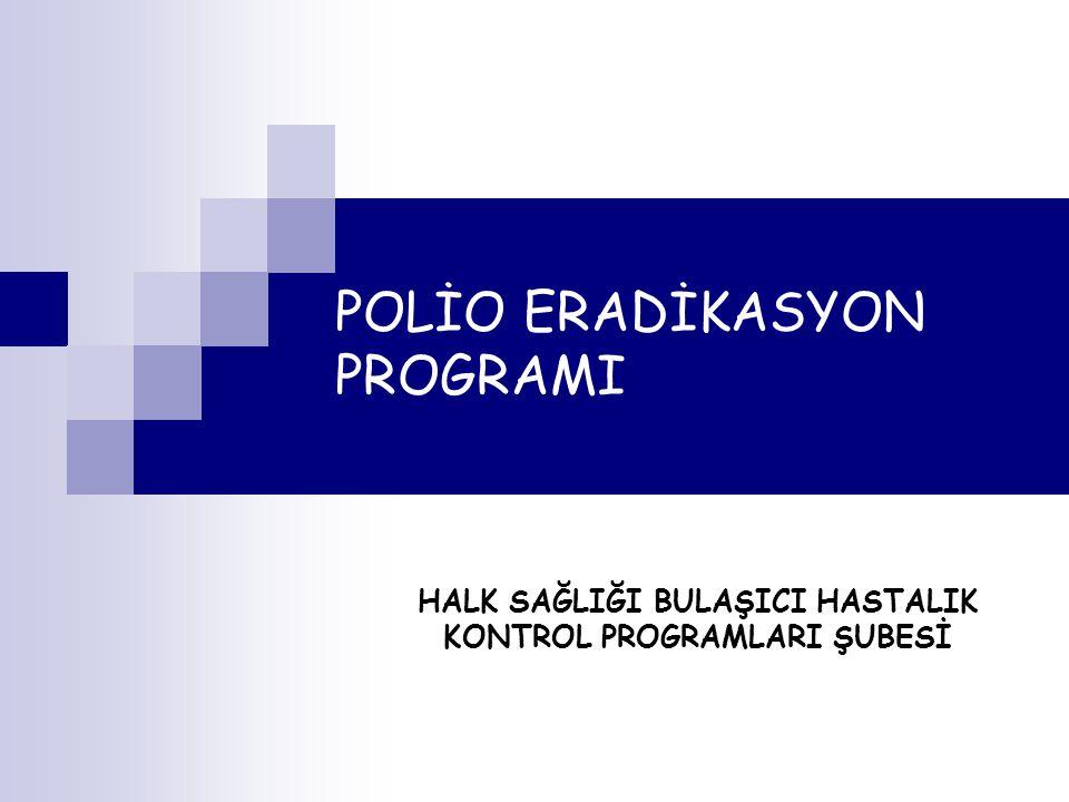 POLİO ERADİKASYON PROGRAMI HALK SAĞLIĞI BULAŞICI HASTALIK KONTROL PROGRAMLARI ŞUBESİ