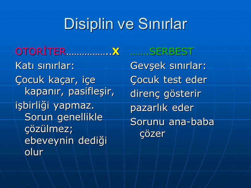 Disiplin ve Sınırlar OTORİTER……………..X Katı sınırlar: Çocuk kaçar, içe kapanır, pasifleşir, işbirliği yapmaz.
