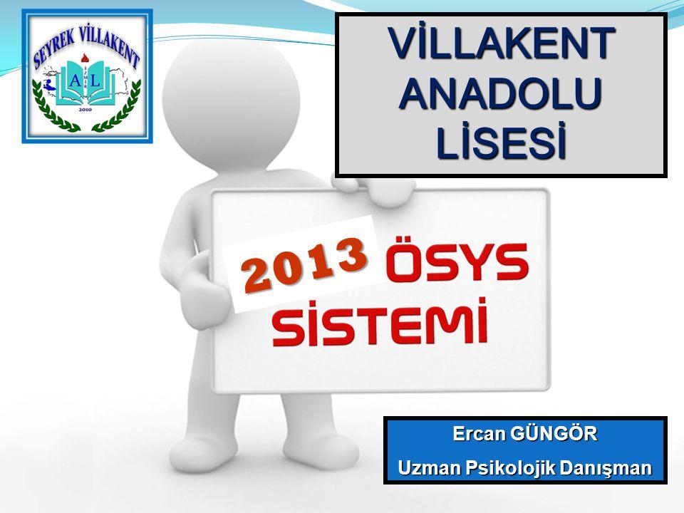 VİLLAKENT ANADOLU LİSESİ Ercan GÜNGÖR Uzman Psikolojik Danışman 2013