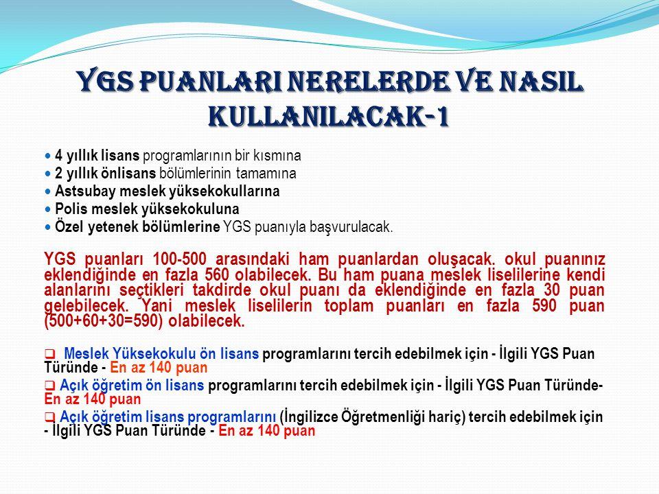 YGS PUANLARI NERELERDE VE NASIL KULLANILACAK-1 4 yıllık lisans programlarının bir kısmına 2 yıllık önlisans bölümlerinin tamamına Astsubay meslek yüks