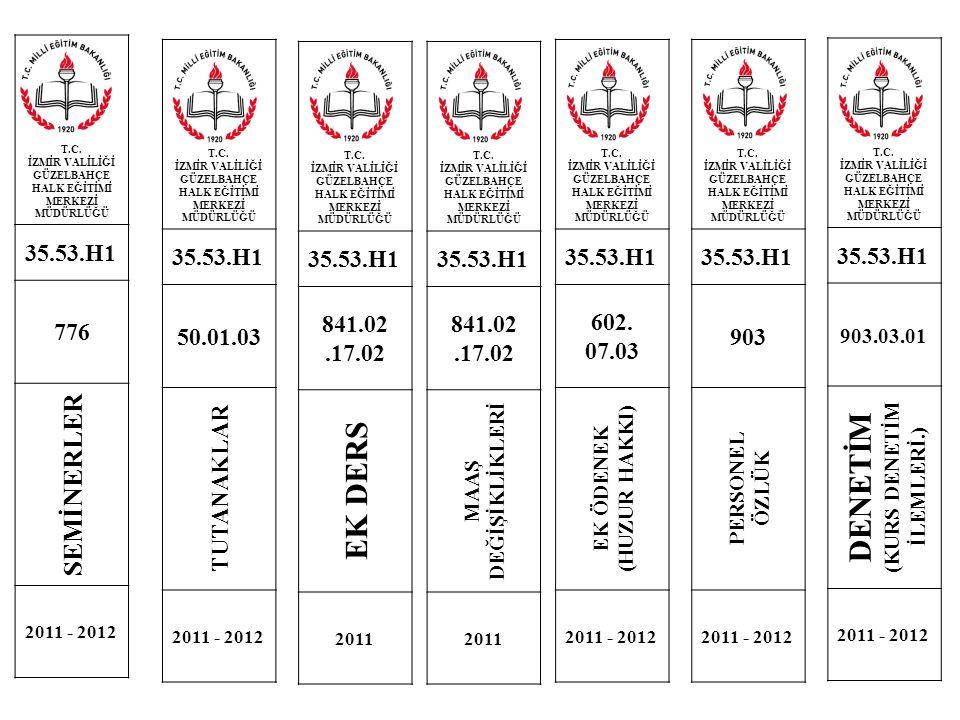 T.C. İZMİR VALİLİĞİ GÜZELBAHÇE HALK EĞİTİMİ MERKEZİ MÜDÜRLÜĞÜ 35.53.H1 776 SEMİNERLER 2011 - 2012 T.C. İZMİR VALİLİĞİ GÜZELBAHÇE HALK EĞİTİMİ MERKEZİ
