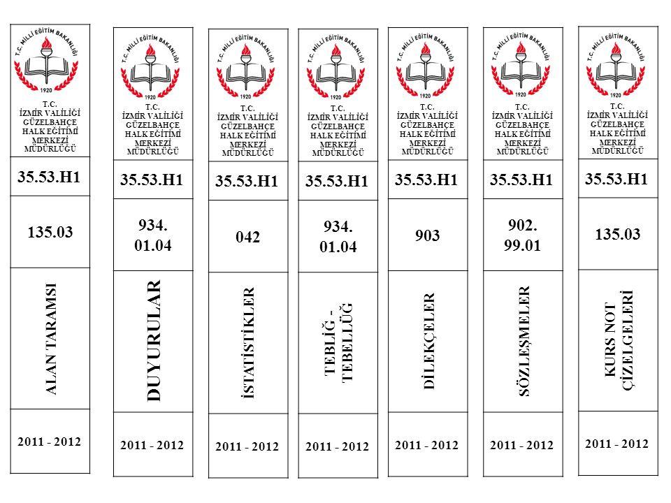 T.C. İZMİR VALİLİĞİ GÜZELBAHÇE HALK EĞİTİMİ MERKEZİ MÜDÜRLÜĞÜ 35.53.H1 135.03 ALAN TARAMSI 2011 - 2012 T.C. İZMİR VALİLİĞİ GÜZELBAHÇE HALK EĞİTİMİ MER
