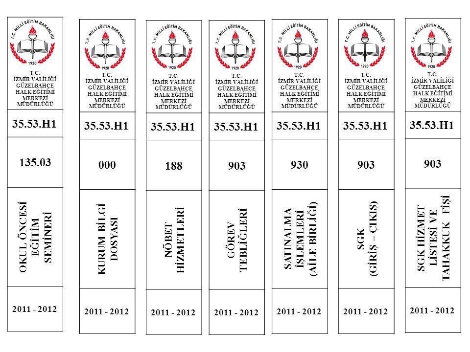 T.C. İZMİR VALİLİĞİ GÜZELBAHÇE HALK EĞİTİMİ MERKEZİ MÜDÜRLÜĞÜ 35.53.H1 135.03 OKUL ÖNCESİ EĞİTİM SEMİNERİ 2011 - 2012 T.C. İZMİR VALİLİĞİ GÜZELBAHÇE H
