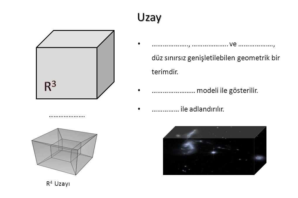 Uzay …………………. ……………….., ……………….. ve ………………., düz sınırsız genişletilebilen geometrik bir terimdir. …………………… modeli ile gösterilir. …………… ile adlandırı