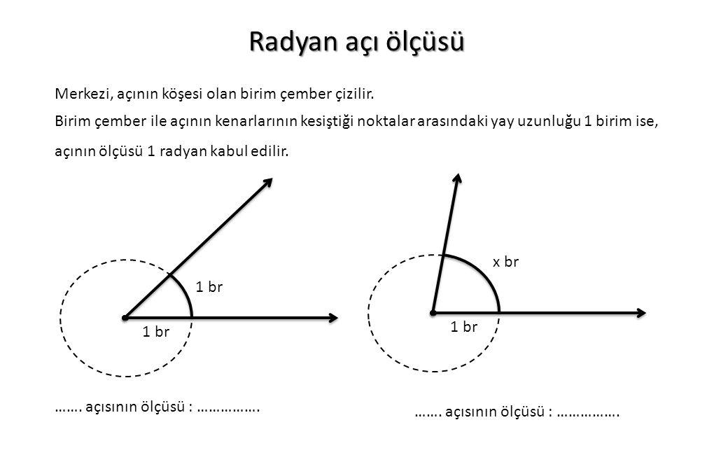 Radyan açı ölçüsü Merkezi, açının köşesi olan birim çember çizilir. Birim çember ile açının kenarlarının kesiştiği noktalar arasındaki yay uzunluğu 1
