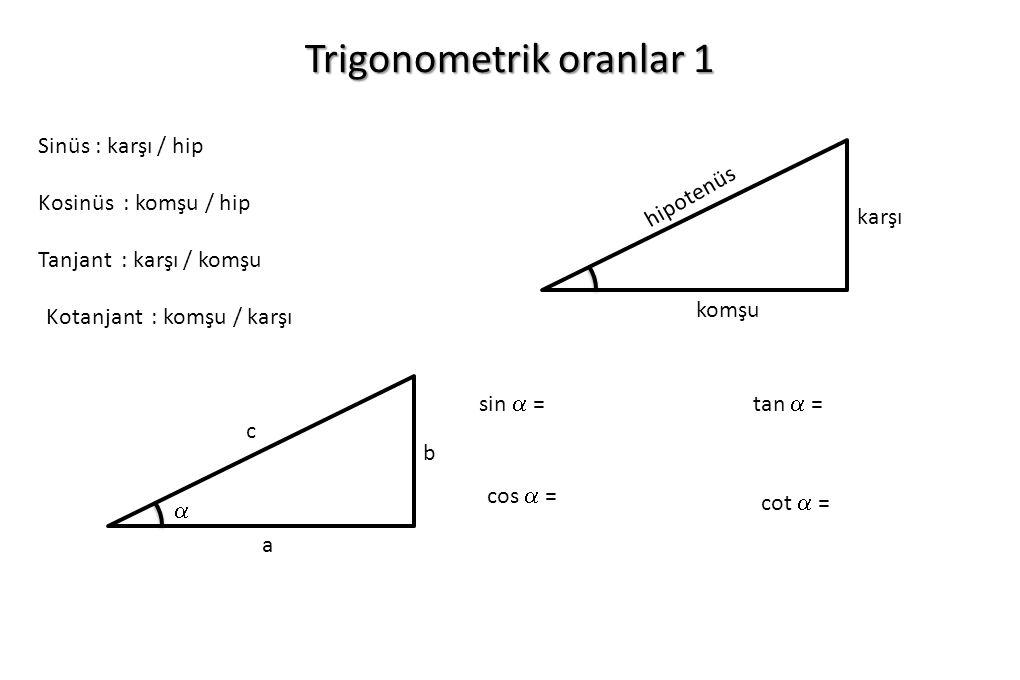 Trigonometrik oranlar 1 komşu karşı hipotenüs Sinüs : karşı / hip Kosinüs : komşu / hip Tanjant : karşı / komşu Kotanjant : komşu / karşı a b c  sin