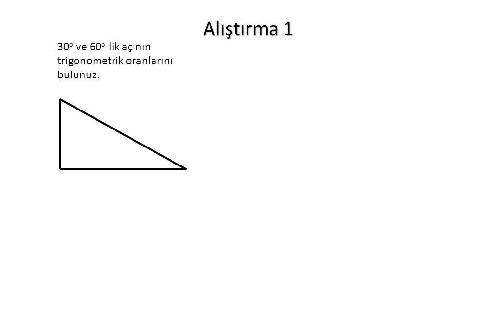 Alıştırma 1 30 o ve 60 o lik açının trigonometrik oranlarını bulunuz.