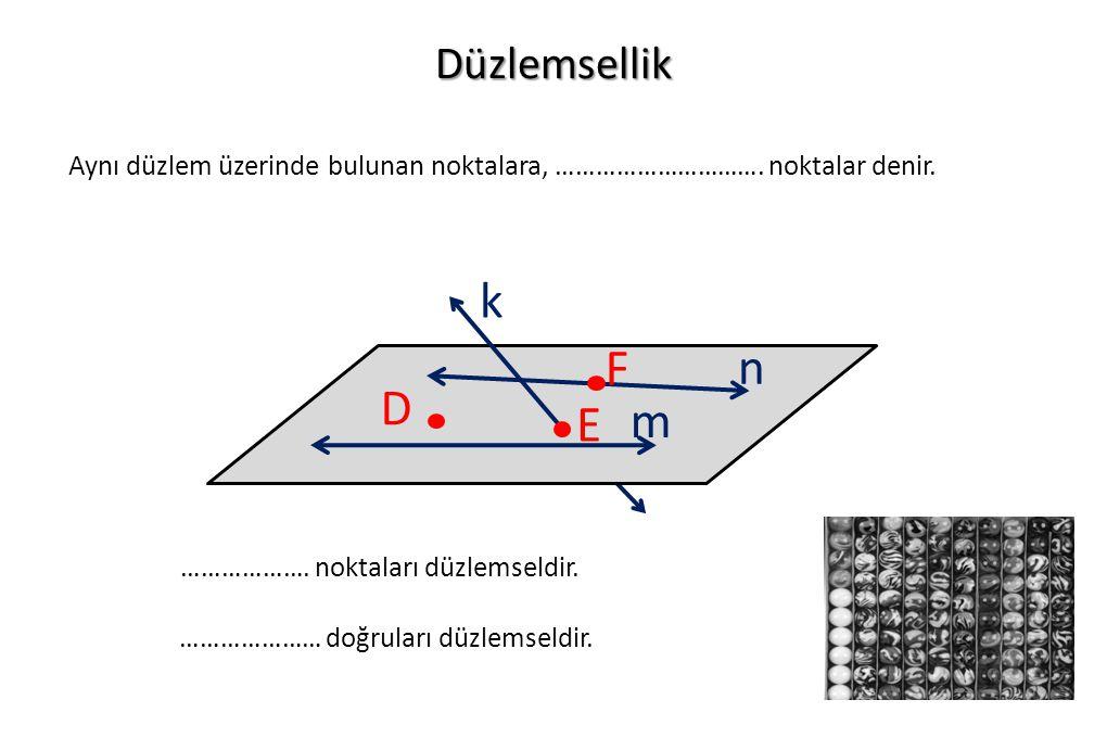 Düzlemsellik Aynı düzlem üzerinde bulunan noktalara, …………………………. noktalar denir. D F E n m k ………………. noktaları düzlemseldir. ………………… doğruları düzlems