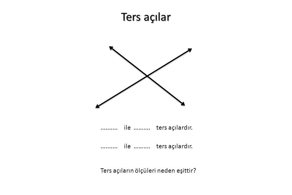 Ters açılar.......... ile …….... ters açılardır. Ters açıların ölçüleri neden eşittir?.......... ile …….... ters açılardır.