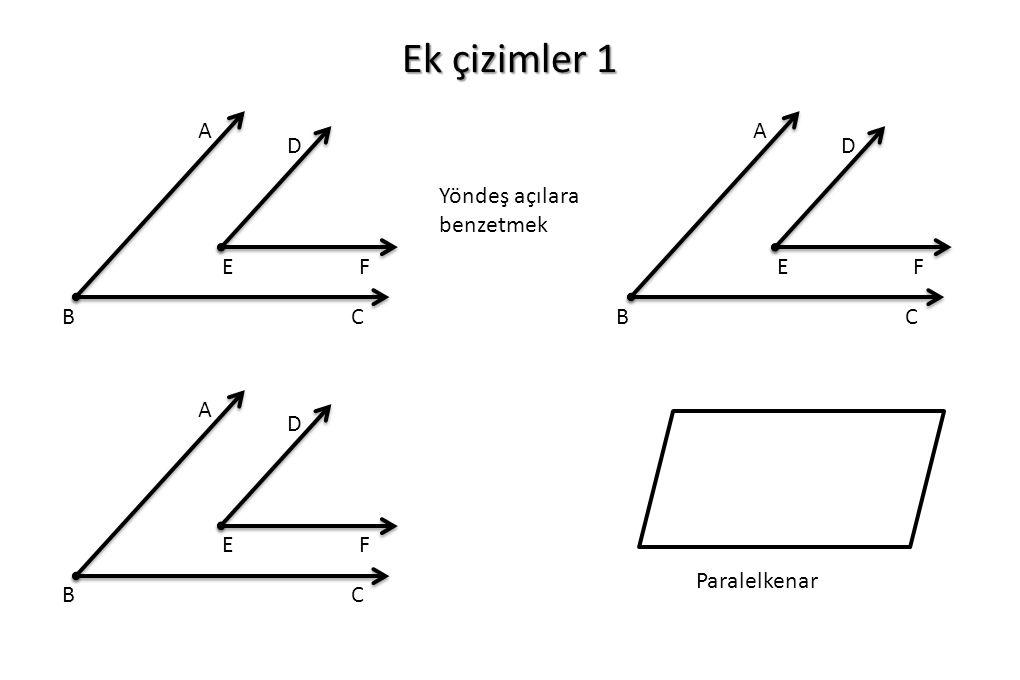 Ek çizimler 1 Yöndeş açılara benzetmek A BC D EF A BC D EF A BC D EF Paralelkenar