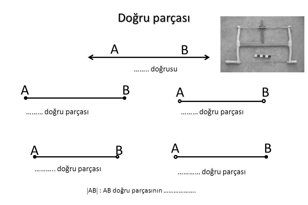 Doğru parçası B A …….. doğrusu AB ……… doğru parçası AB AB ……….. doğru parçası AB ………… doğru parçası  AB  : AB doğru parçasının ……………….