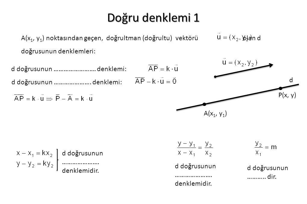 Doğru denklemi 1 A(x 1, y 1 ) noktasından geçen, doğrultman (doğrultu) vektörü olan d doğrusunun denklemleri: d doğrusunun ……………………. denklemi: d doğru