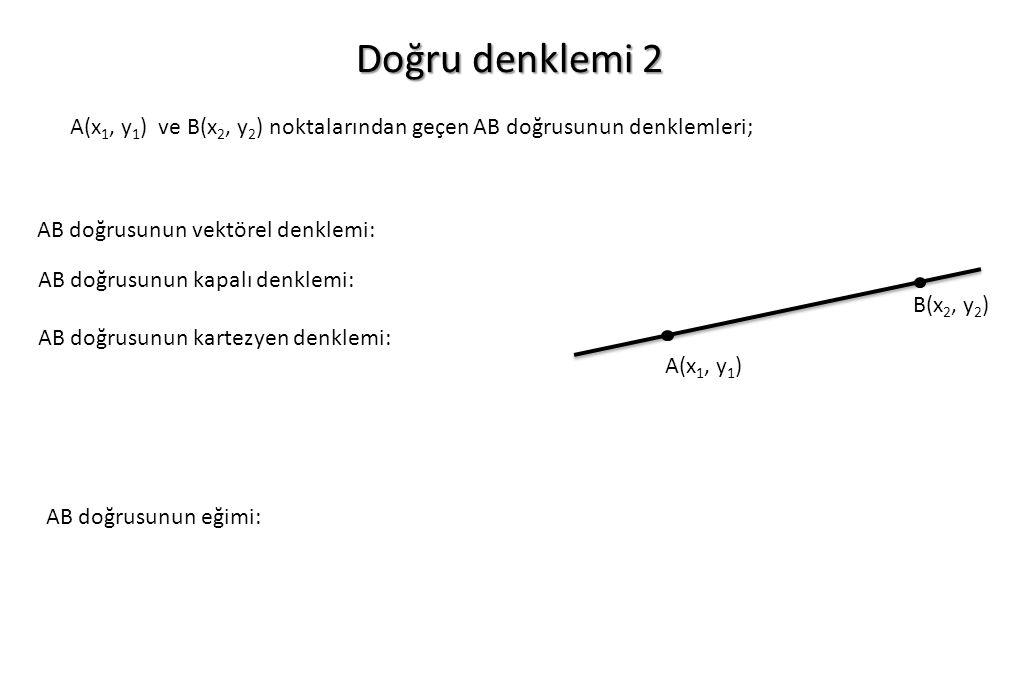 Doğru denklemi 2 A(x 1, y 1 ) ve B(x 2, y 2 ) noktalarından geçen AB doğrusunun denklemleri; AB doğrusunun vektörel denklemi: AB doğrusunun kapalı den