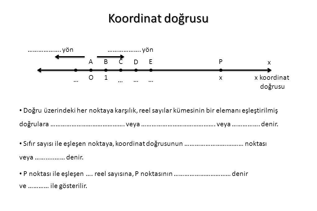 Koordinat doğrusu ………………. yön ABC D EP O1x x … … …… x koordinat doğrusu Doğru üzerindeki her noktaya karşılık, reel sayılar kümesinin bir elemanı eşle