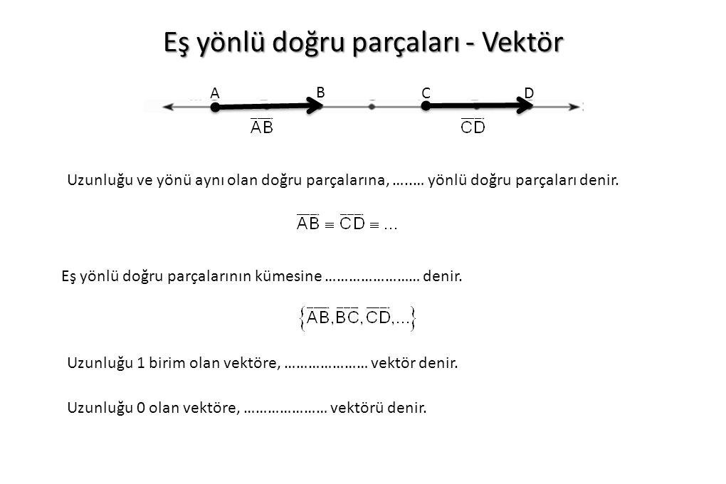 Eş yönlü doğru parçaları - Vektör A B Uzunluğu ve yönü aynı olan doğru parçalarına, …..… yönlü doğru parçaları denir. CD Eş yönlü doğru parçalarının k