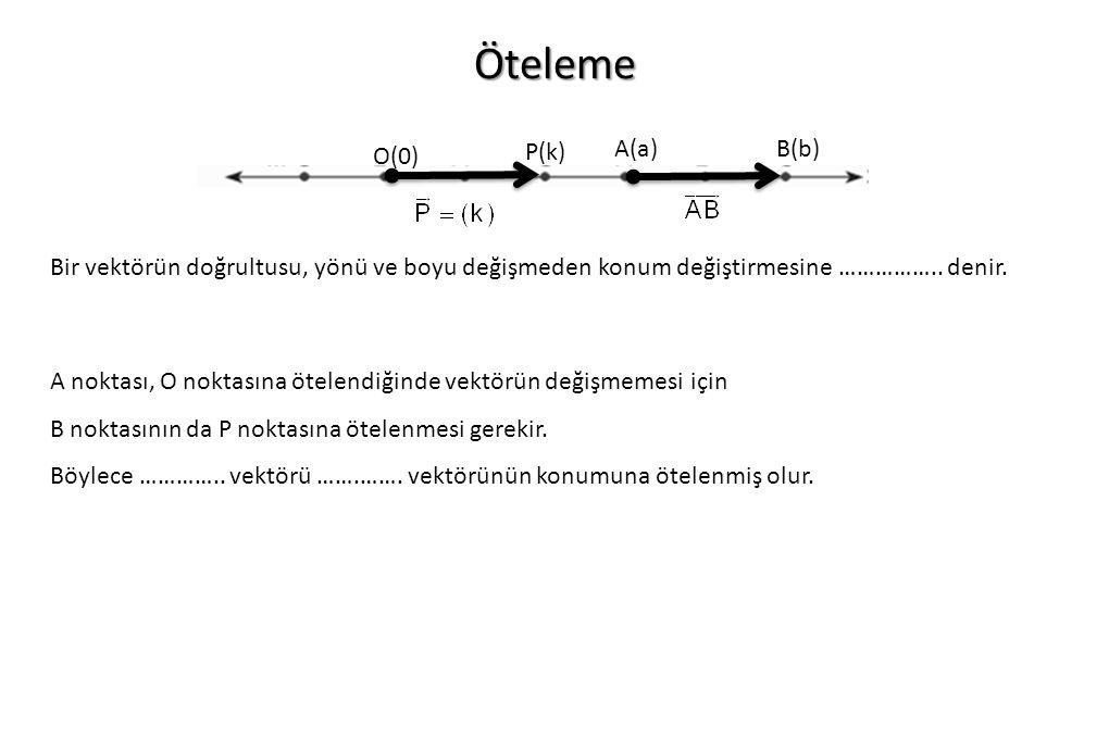 Öteleme O(0) P(k) A(a)B(b) Bir vektörün doğrultusu, yönü ve boyu değişmeden konum değiştirmesine …………….. denir. A noktası, O noktasına ötelendiğinde v
