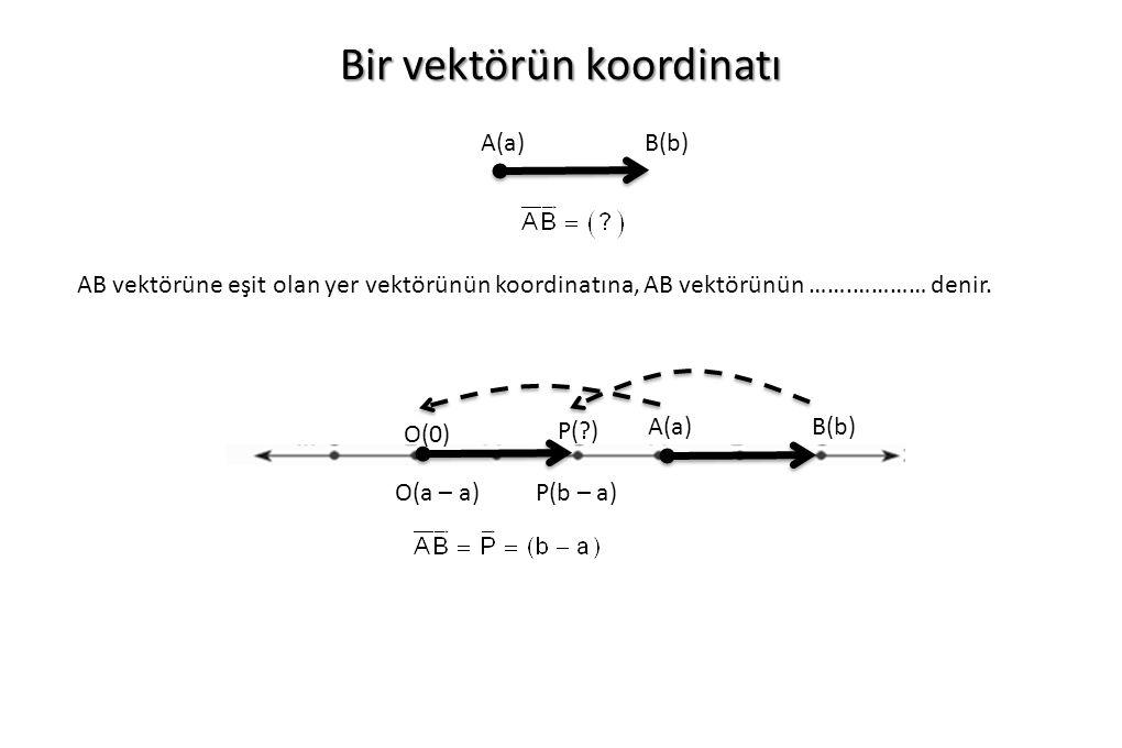 Bir vektörün koordinatı O(0) P(?) A(a)B(b) A(a)B(b) O(a – a)P(b – a) AB vektörüne eşit olan yer vektörünün koordinatına, AB vektörünün …….………… denir.