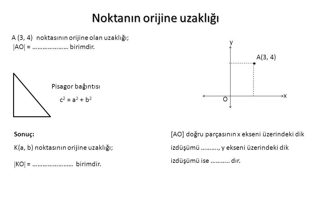 Noktanın orijine uzaklığı y x O A(3, 4) Pisagor bağıntısı c 2 = a 2 + b 2 Sonuç: K(a, b) noktasının orijine uzaklığı;  KO  = …………………… birimdir. A (3