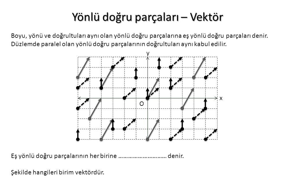 Yönlü doğru parçaları – Vektör Boyu, yönü ve doğrultuları aynı olan yönlü doğru parçalarına eş yönlü doğru parçaları denir. Düzlemde paralel olan yönl